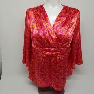 Cato size 18/20w pink/orange Blouse. A0483